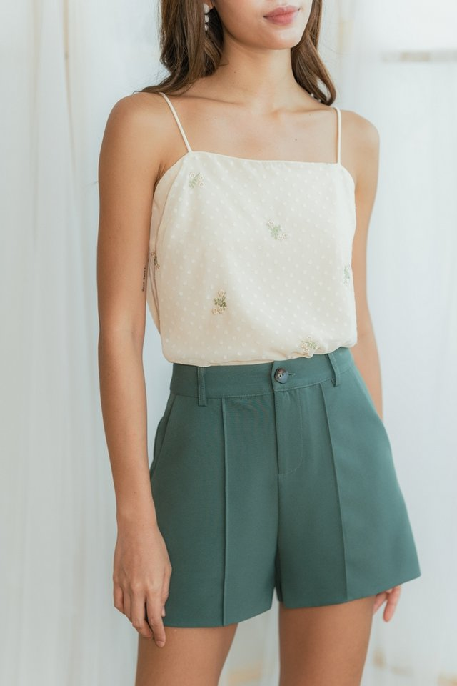 Colette Button Shorts in Muted Green