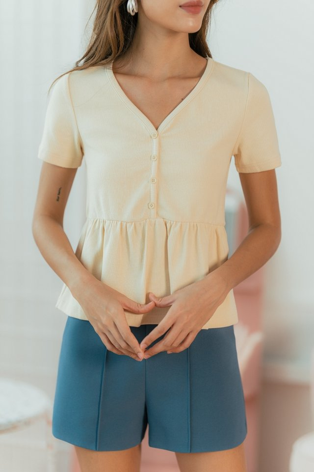 Eileen Ribbed Button Babydoll Top in Cream