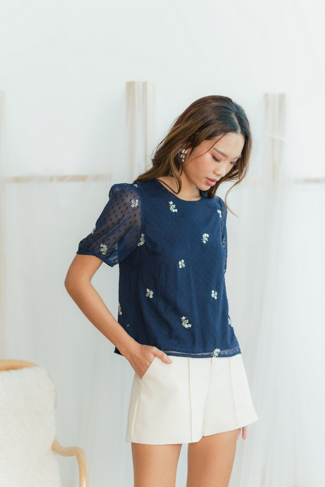 Eve Swiss Dot Floral Embroidery Top in Navy