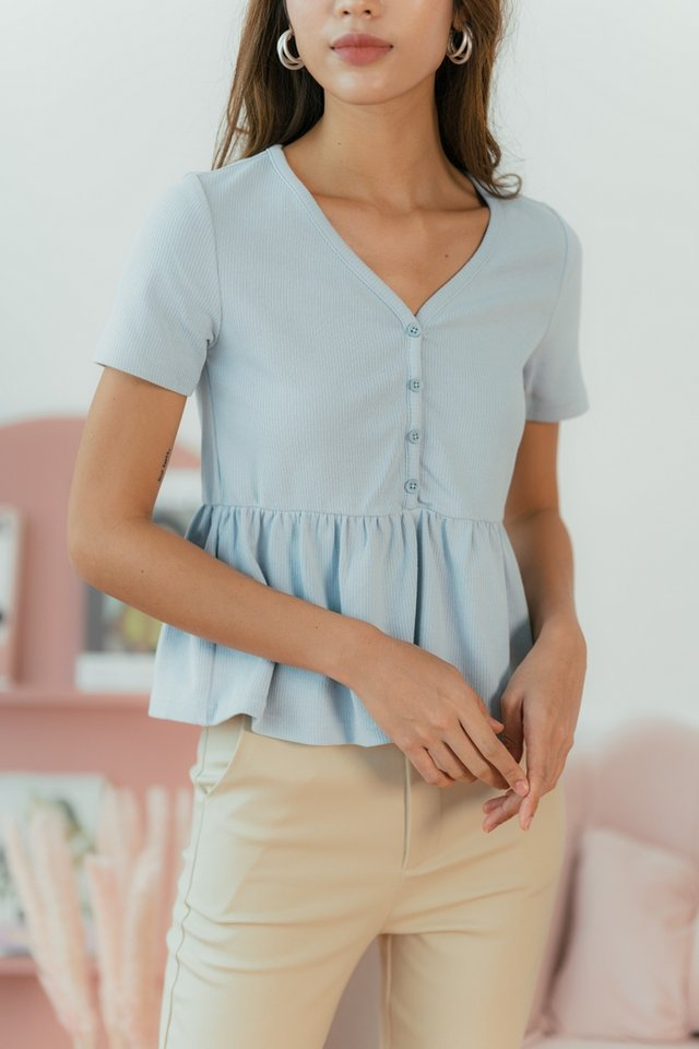 Eileen Ribbed Button Babydoll Top in Powder Blue