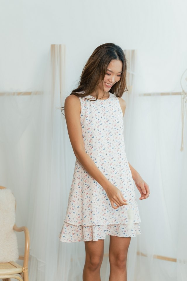 Paisley Floral Tiered Hem Dress in Pink