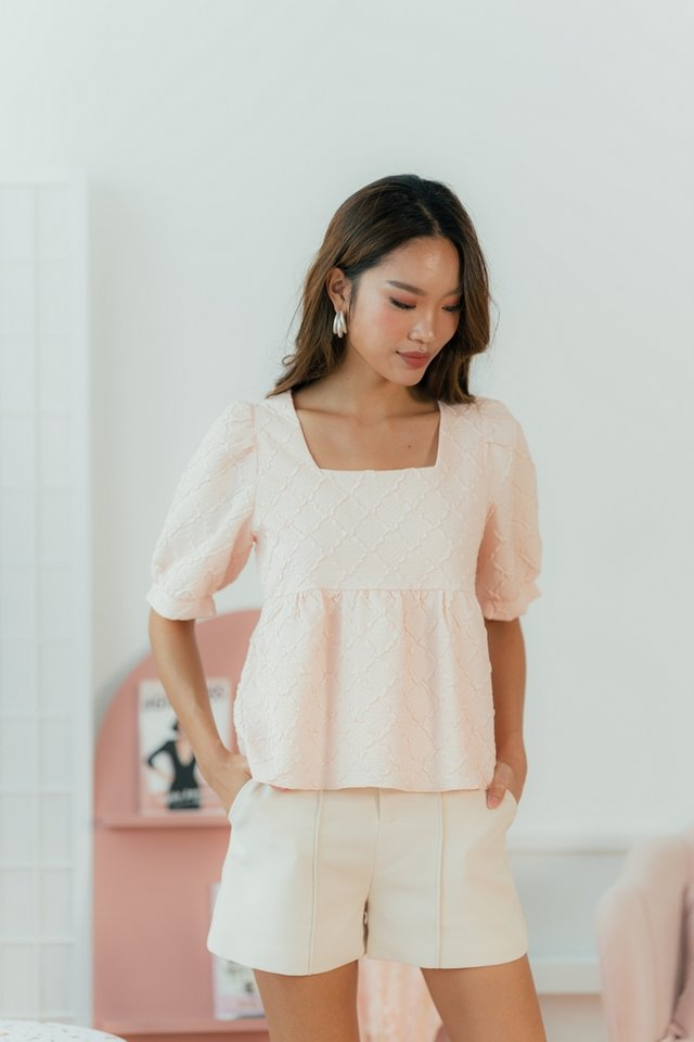 Fion Embossed Textured Babydoll Top in Blush