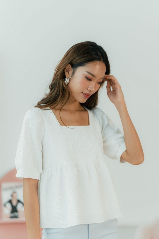 Fion Embossed Textured Babydoll Top in White