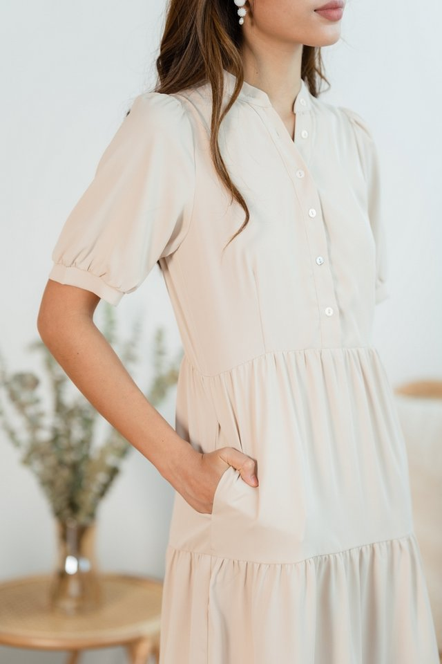 Reneta Button Tiered Dress in Sand