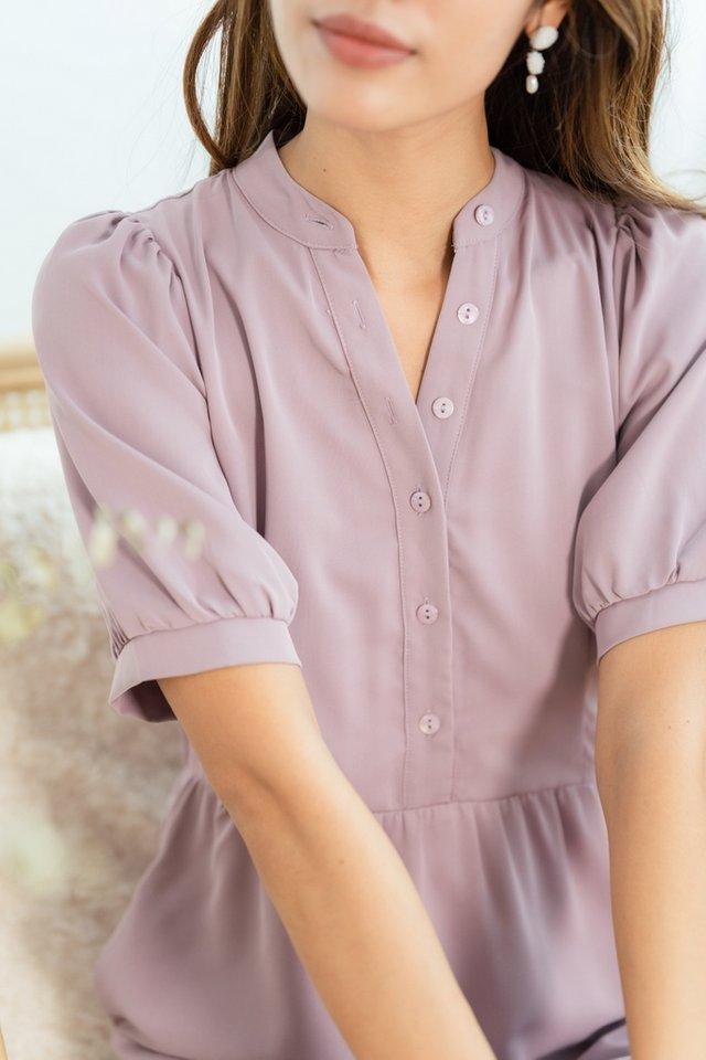 Reneta Button Tiered Dress in Dusty Lavender
