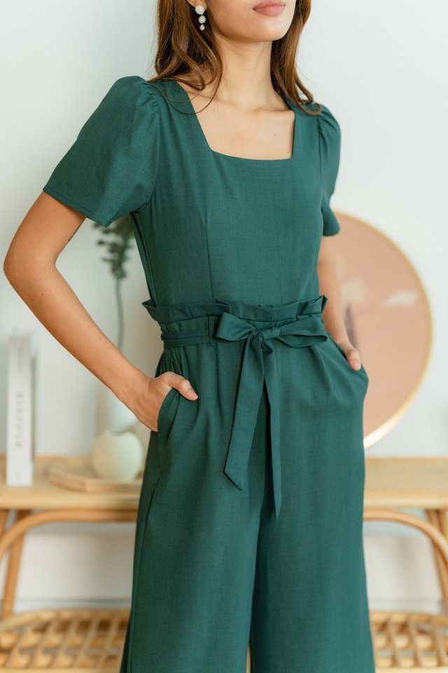 Lucia Paperbag Jumpsuit in Emerald Green