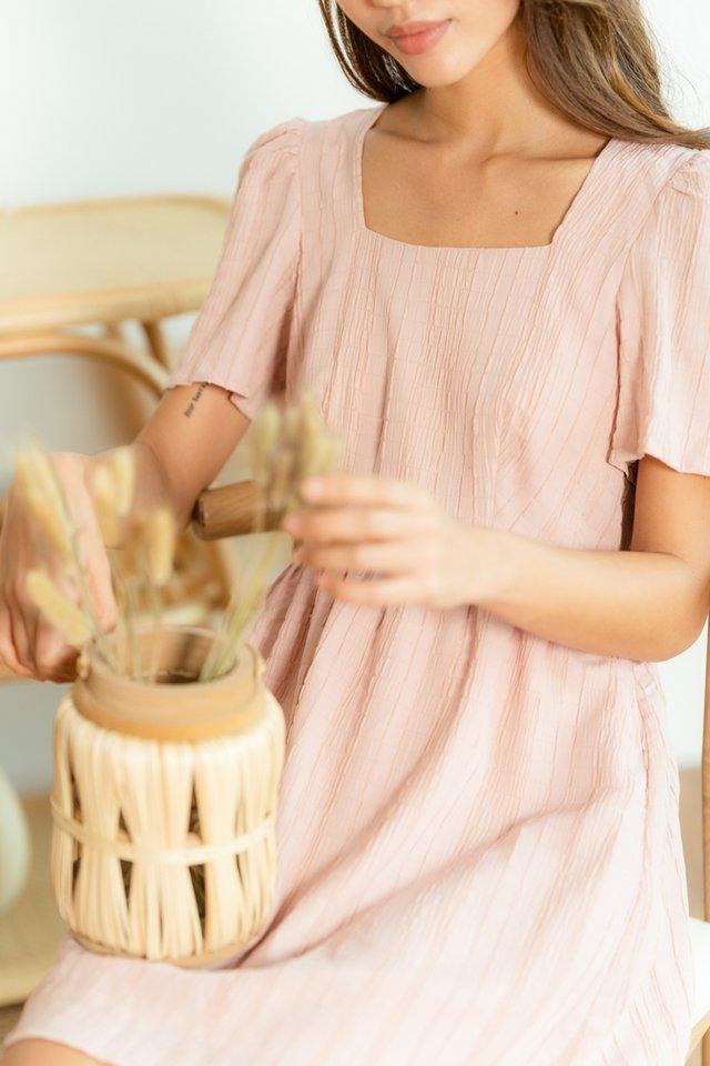 Mavis Textured Babydoll Dress in Dusty Pink