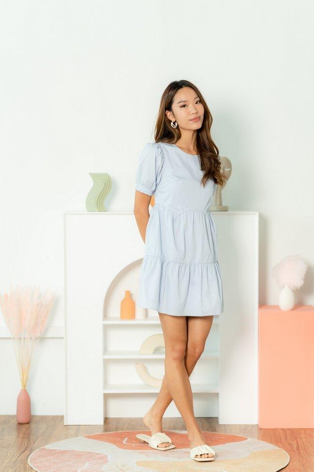 Jemma Scallop Babydoll Dress in Baby Blue