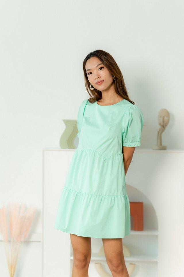Jemma Scallop Babydoll Dress in Tiffany Green