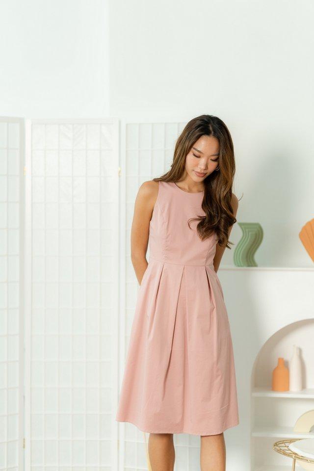 Jolinda Pleated Midi Dress in Blush Pink