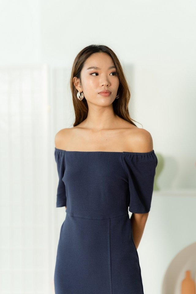 Selynn Two Way Ribbed Dress in Navy