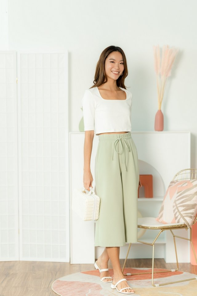 Karina Tie-Front Culottes in Sage