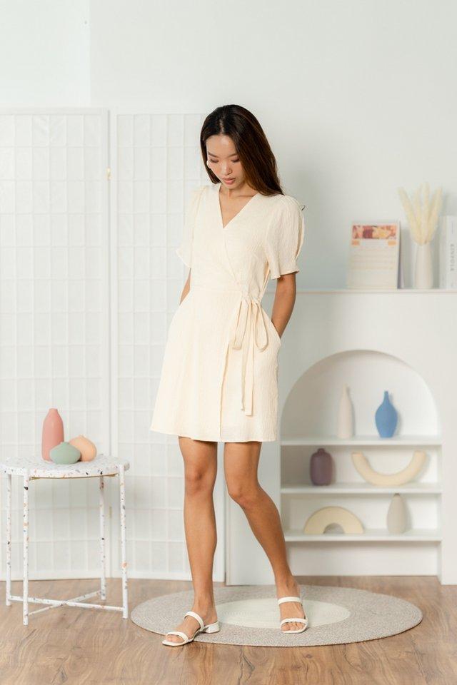 Ryanne Textured Faux Wrap Dress in Cream
