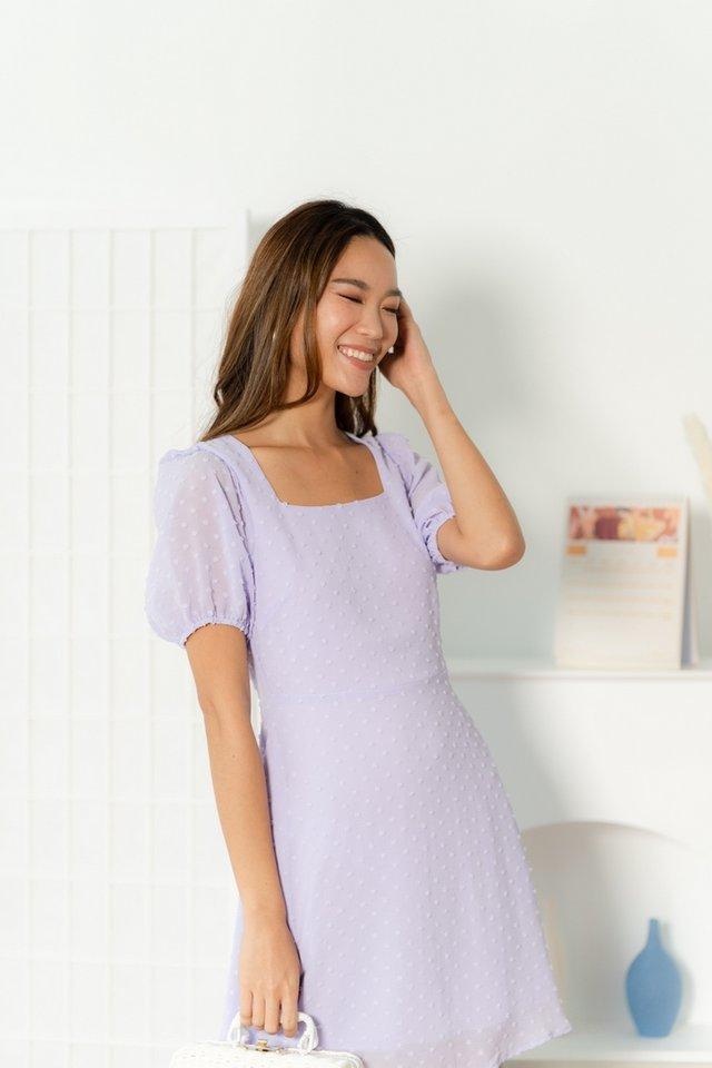 Alna Swiss Dot Puffed Sleeves Dress in Lilac