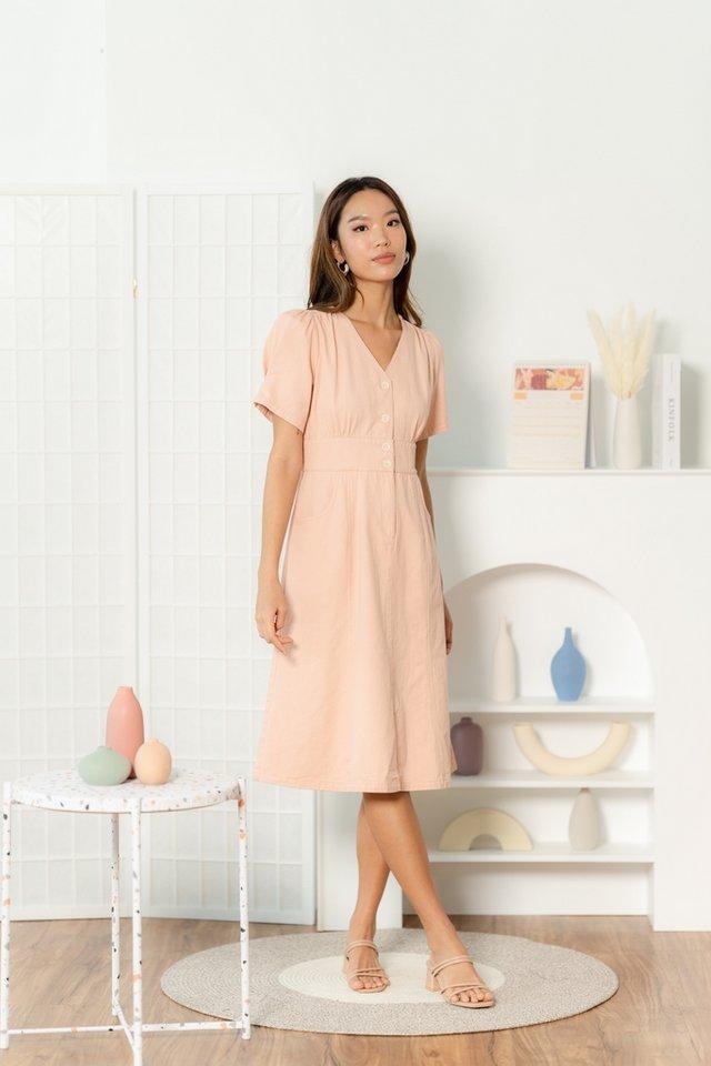Ally Puffed Sleeves Denim Midi Dress in Pink