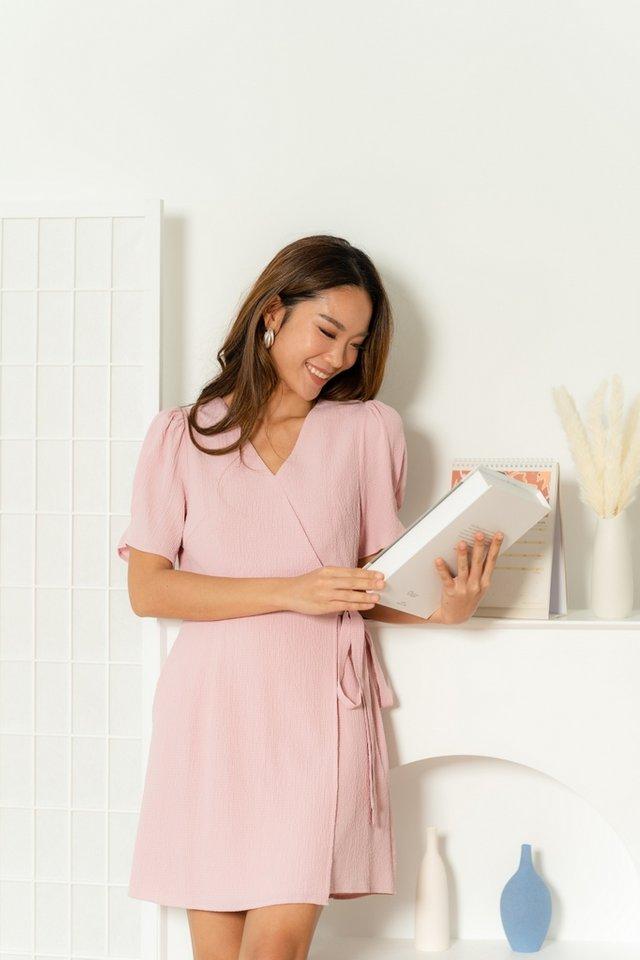 Ryanne Textured Faux Wrap Dress in Sweet Pink