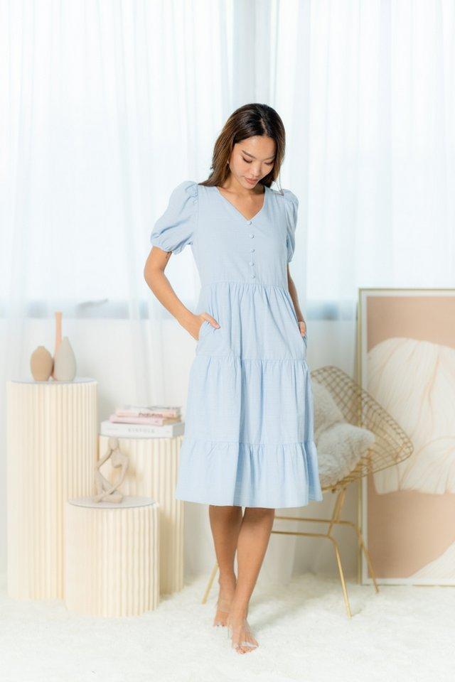Yuri Button Tiered Midi Dress in Baby Blue