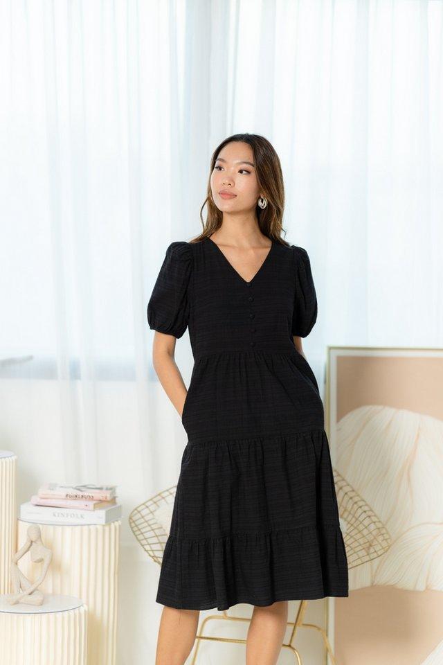 Yuri Button Tiered Midi Dress in Black