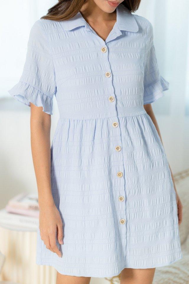 Audris Textured Flutter Sleeves Shirt Dress in Baby Blue