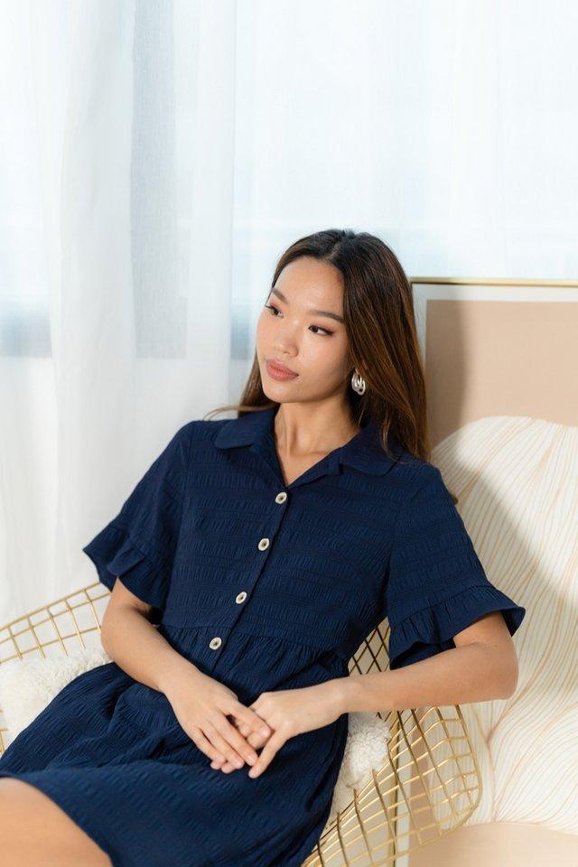 Audris Textured Flutter Sleeves Shirt Dress in Navy