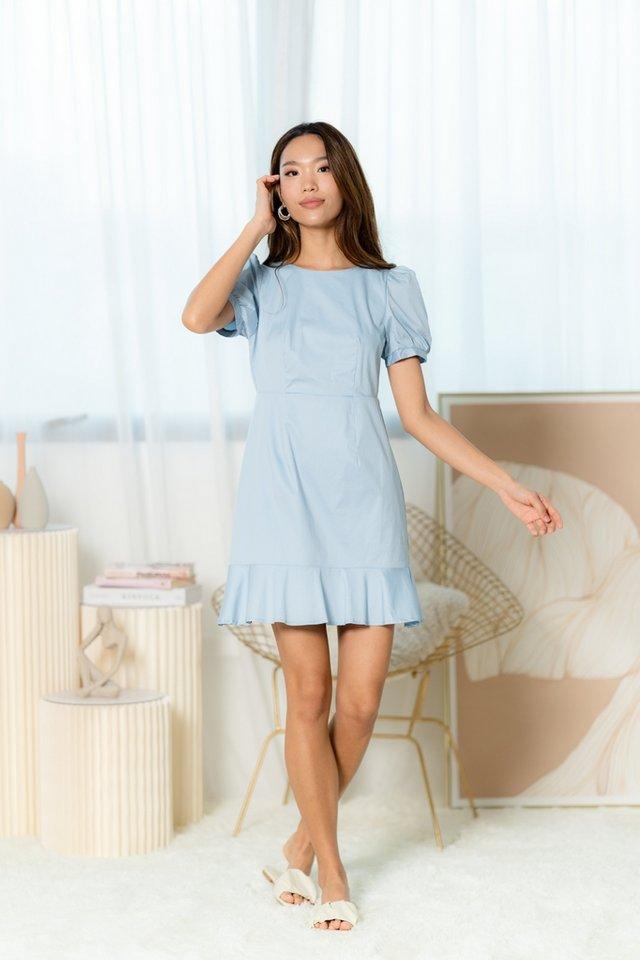 Ranae Puffed Sleeves Dropwaist Dress in Baby Blue