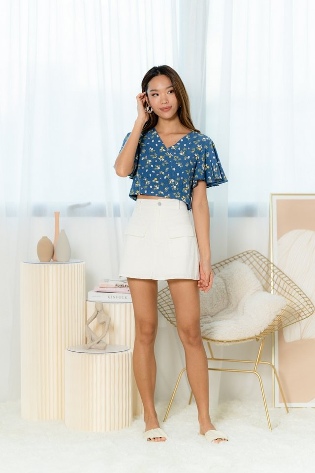 Maia Floral Flare Sleeves Top in Blue