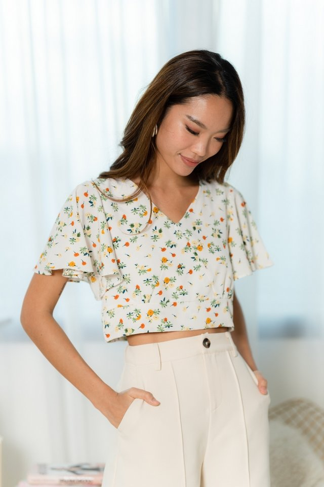 Maia Floral Flare Sleeves Top in White