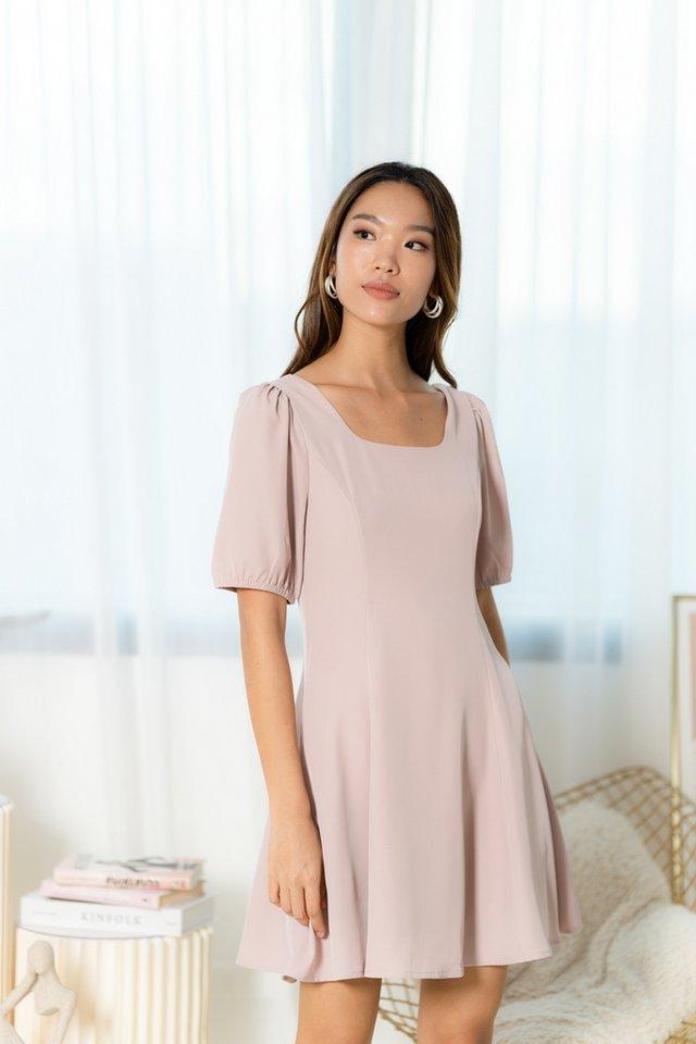 Zora Square Neck Skater Dress in Blush Pink