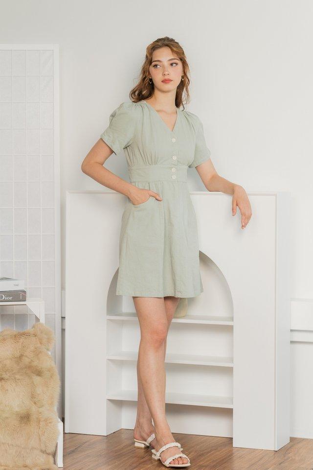 Giselle Puffed Sleeves Denim Dress in Soft Mint