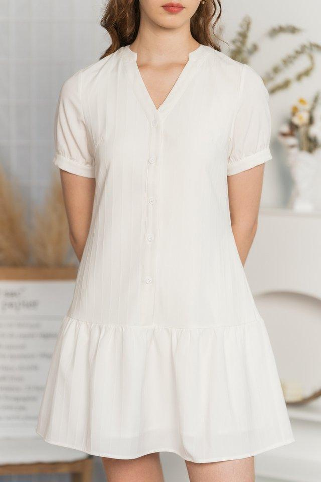 *Online Exclusive* Nayla Mandarin Collar Button Dress in White
