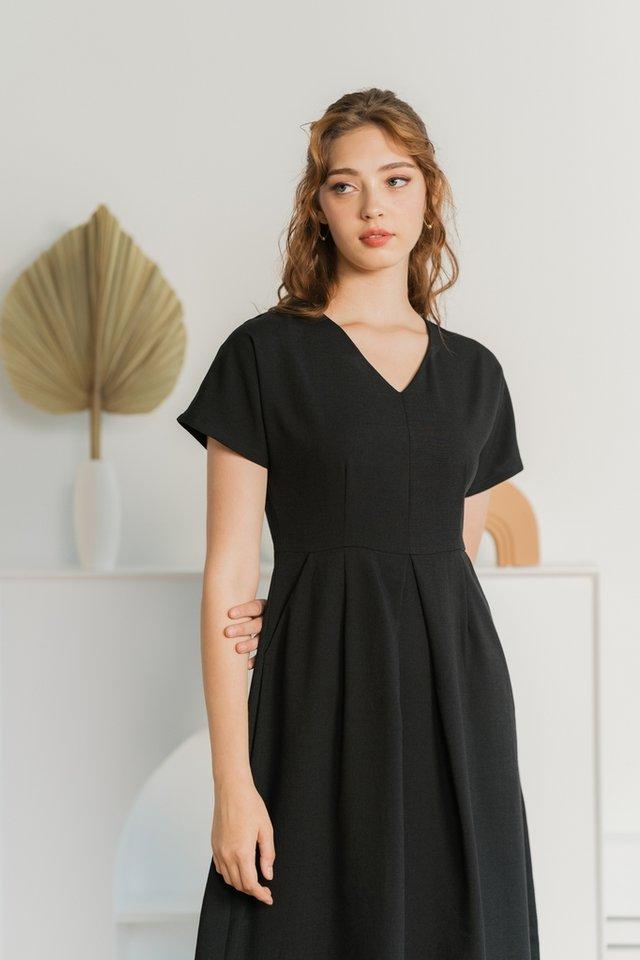 Miah Dropped Sleeves Midi Dress in Black