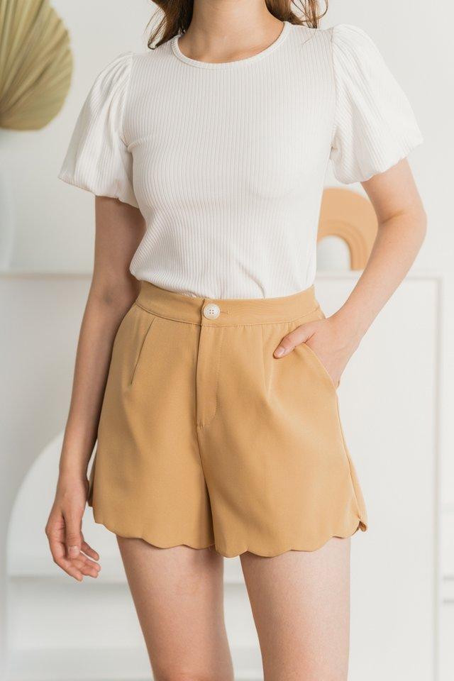 Fabiana Scallop Shorts in Caramel