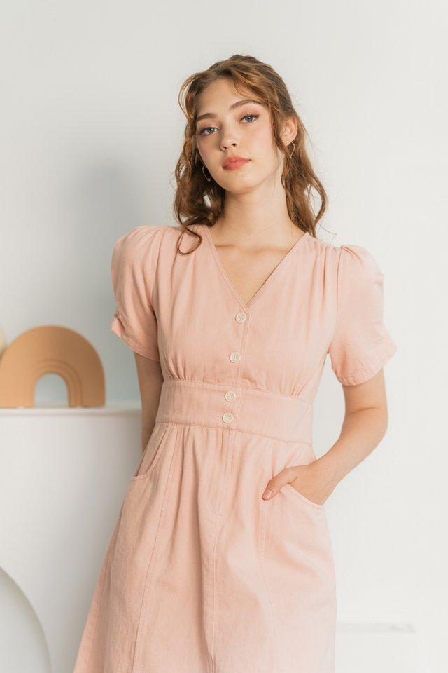 Giselle Puffed Sleeves Denim Dress in Pink