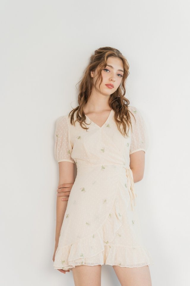 Miko Swiss Dot Floral Embroidery Dress in Cream