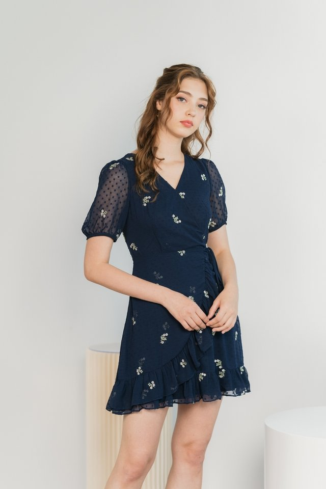 Miko Swiss Dot Floral Embroidery Dress in Navy