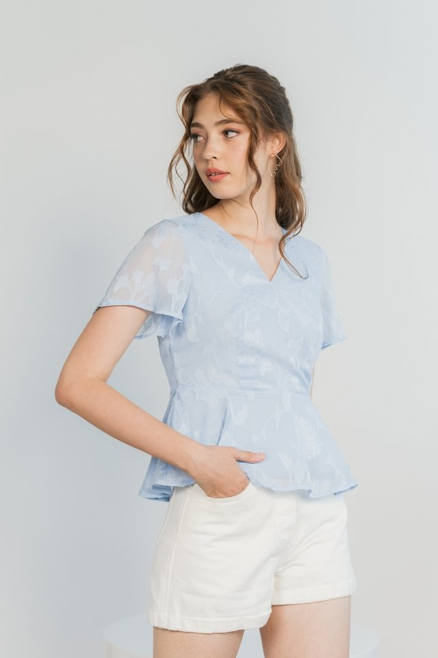 Jenna Floral Jacquard Peplum Top in Baby Blue