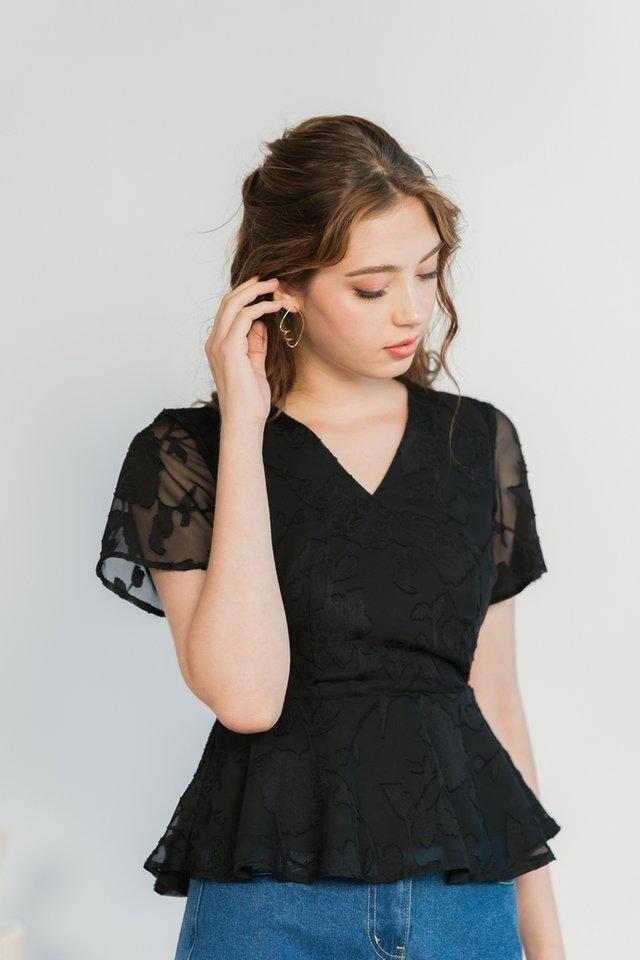 Jenna Floral Jacquard Peplum Top in Black