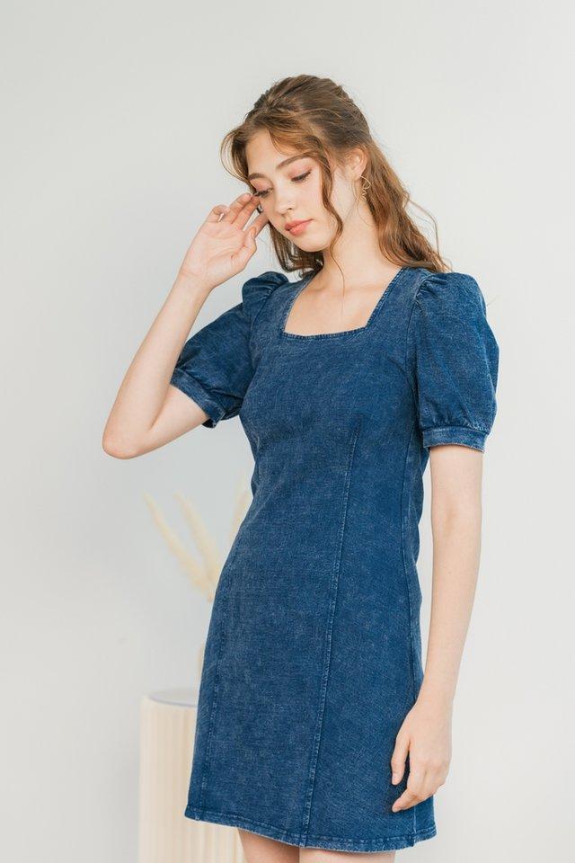 Silvy Square Neck Denim Dress in Dark Wash