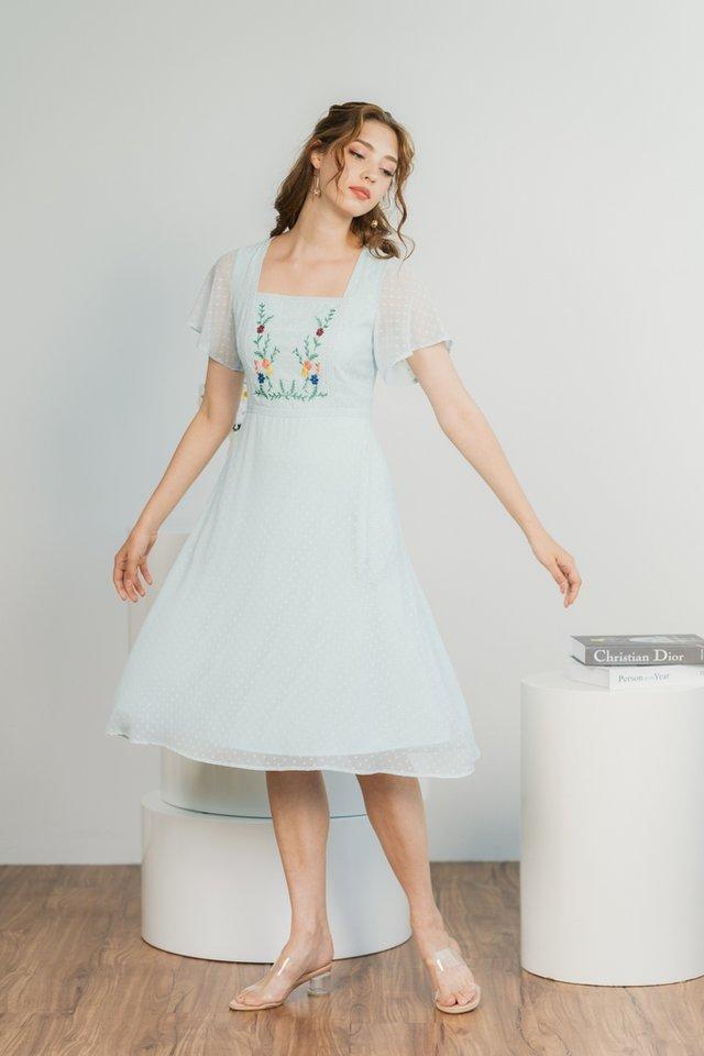 Joyce Swiss Dot Floral Embroidery Midi Dress in Soft Mint Blue