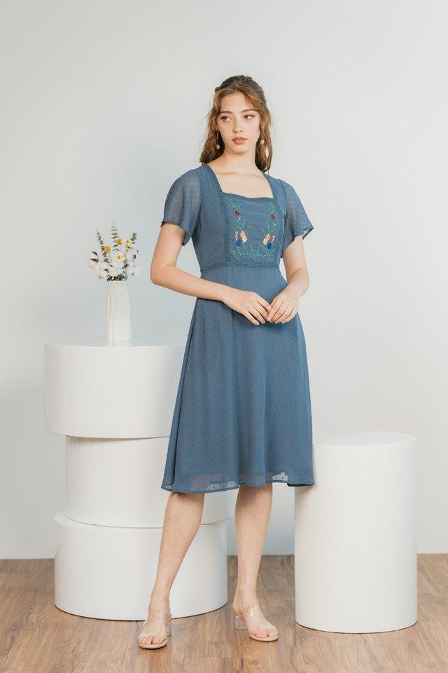 Joyce Swiss Dot Floral Embroidery Midi Dress in Teal