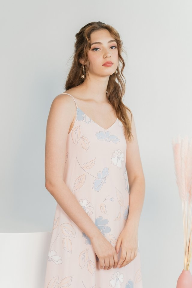 Blaire Abstract Floral Camisole Midi Dress in Pink