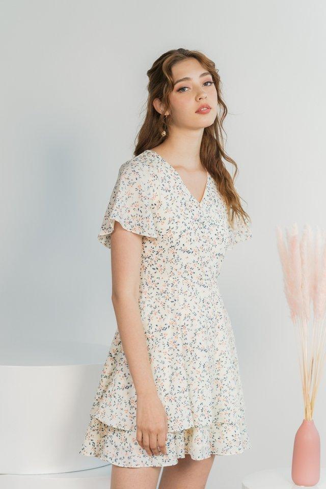 Zoella Floral Button Tiered Hem Dress in Cream