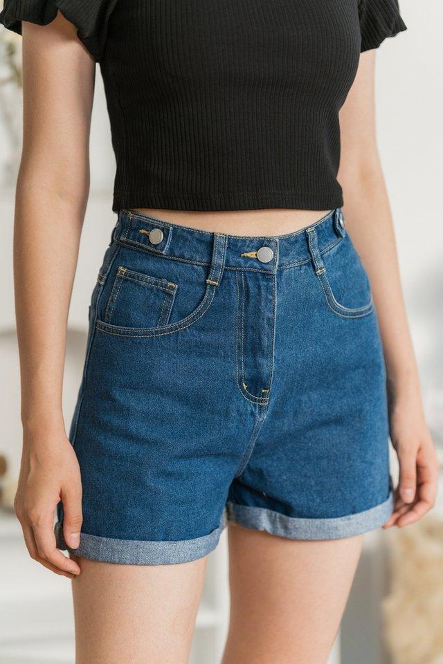 Shania Button Denim Shorts in Mid Wash