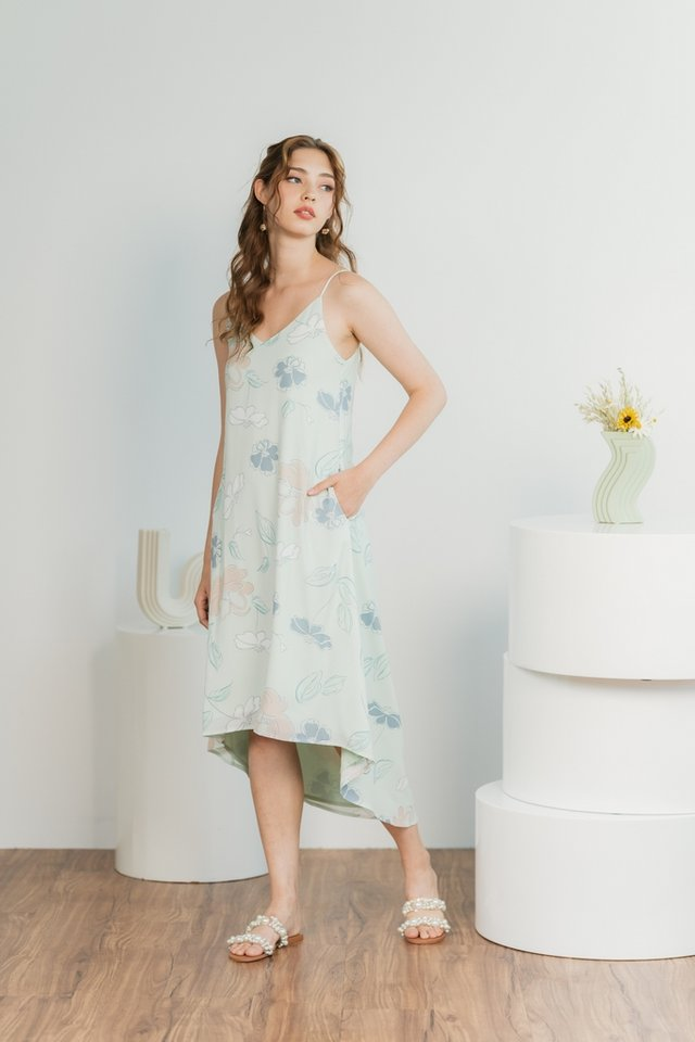 Blaire Abstract Floral Camisole Midi Dress in Soft Mint