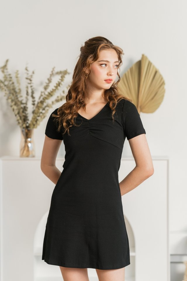 Shirlyn Ribbed Ruched Dress in Black