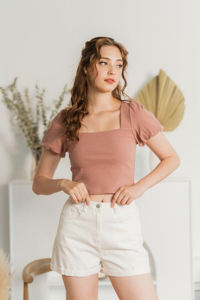 Shania Button Denim Shorts in White