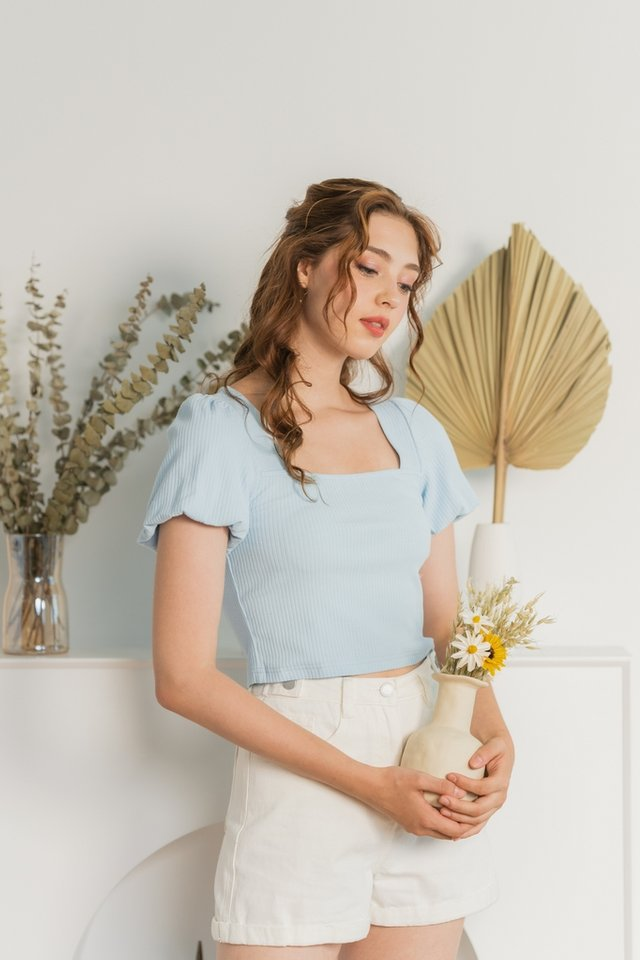 Janelia Ribbed Puffed Sleeves Top in Baby Blue