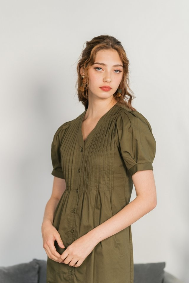 Betsy Pleated Button Midi Dress in Olive