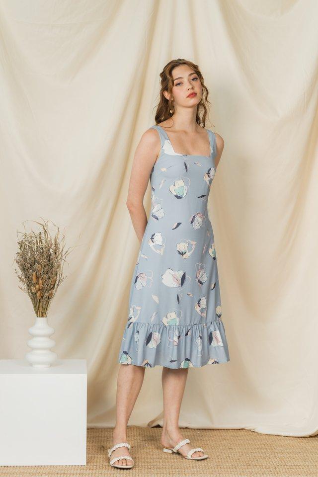 Liz Butterfly Dropwaist Hem Midi Dress in Bluish Grey