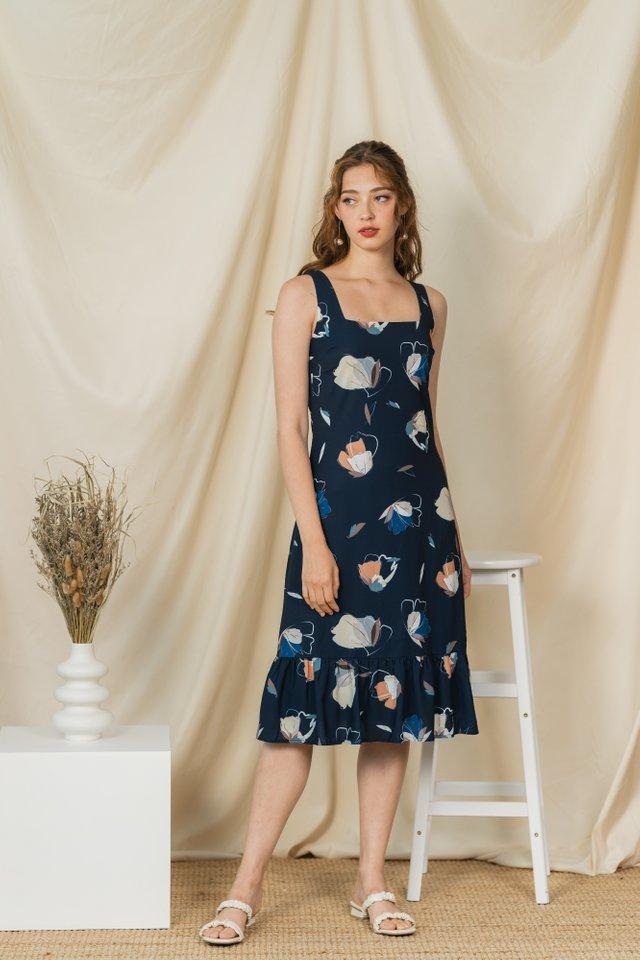 Liz Butterfly Dropwaist Hem Midi Dress in Navy